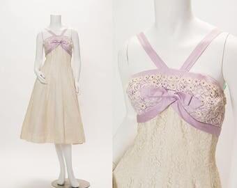 creme lace with lavender silk halter dress vintage 1950s • Revival Vintage Boutique