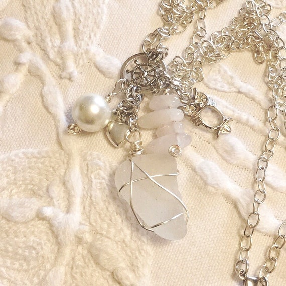 Dangle Charm Necklace with Sea Glass, Real Pearls, Rose Quartz Points, Silver Plated Charms, Swarovski Crystal and Silver Chain