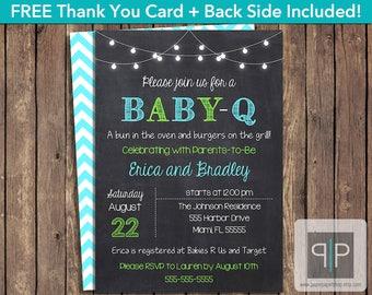 INSTANT DOWNLOAD Baby-Q Invitation, Editable Baby-Q Invitation, Printable BabyQ Invitation, BBQ Boy Baby Shower Invitation, Boy Baby-q, P7