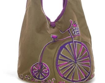 Painted purple khaki bike Messenger bag, fall fashion