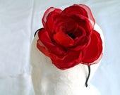 Large red flower fascinator Flower headband Red rose head piece Flower hair piece Red black fascinator Valentine gift for her Flower crown