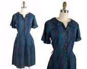 1950s Teal Plaid Day Dress / 50s Purple Plaid A-line Shirt Dress / Vintage Medium Dress