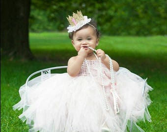 Ankle Length  Baby Girl  Tutu Dress. Baby Flower Girl Tulle Dress with Lace Stretch Crochet Bodice