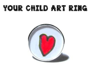 Your Child's Artwork ring CUSTOM YOUR CHILDS Art ring Your Childrens Drawing ring Personalized Mommy Gift for Grandma mom saked
