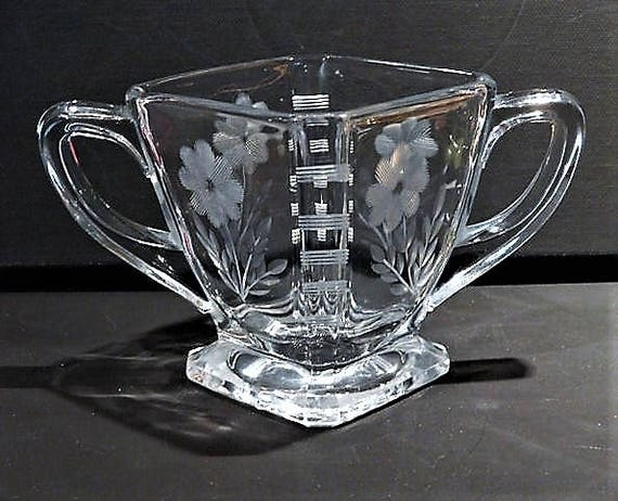 HEISEY Glass / Heisey Etched Sugar Bowl / Antique Glass / Signed