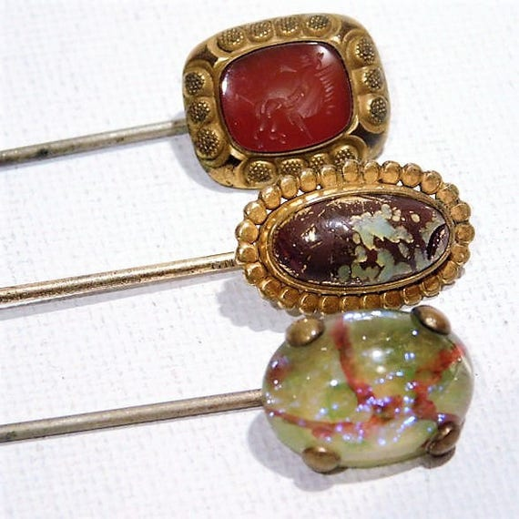 Antique Stick Pin /  Victorian Hat Pin / Edwardian Stickpin / Foil Art Glass / Dragons Breath / Carnelian Glass / Intaglio