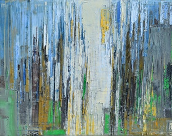 "Oil painting, canvas art, stretched, ""Abstract city 9"". Size 39,4/ 27,6 inches (100/70cm)"