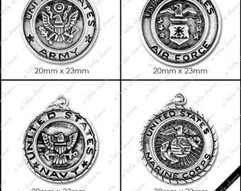 B-01-06 Word Charms, Military, Air Force, Army, Marines, Navy Emblems