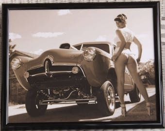 16x20 inch framed poster racy girl with a Henry J hot rod gasser