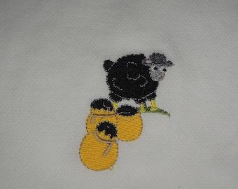 Embroidered Sheep Baby Burp Cloth