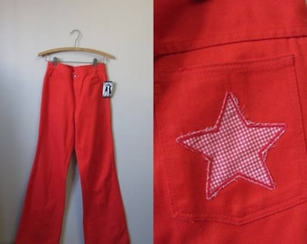 """December Sale 1970s red bell bottom jeans 