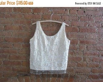 December Sale 1960s beaded & sequin cream wool shell | 50's 60's Mid Century Old Hollywood Glamour