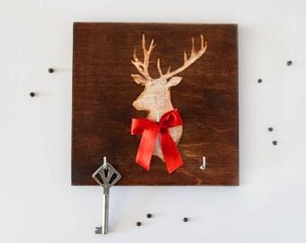 Wall Key Holder DEER, Wooden, Wall Decor, Key board, Key Hanger, Home, Housewarming Gift, Organizer
