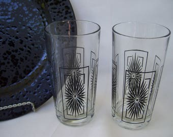 2 Atomic Tall Black Atomic Drinking Glasses, Bar Glassware,Retro,Mid Century,Set of 2,Mad Men