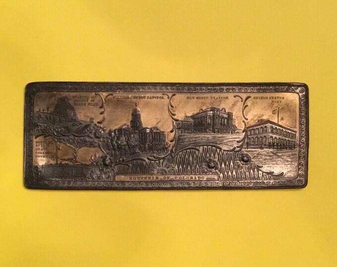Vintage Souvenir of Colorado Metal Trinket / Pen TRAY