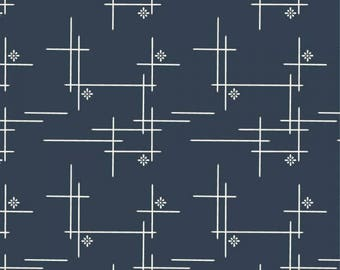 Merry Hatch in Dusk, Woven, Merryweather, Birch Organic Fabrics, modern blender, fabric by the yard, navy blue fabric