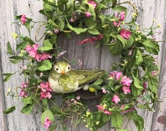 Natural Wreath, Bird wreath, Front door wreath, Summer Wreath, Spring Wreath, Door wreath, summer wreath for front door, bird wreath