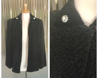 Vintage 40's Curly Lambswool Swing coat With Rhinestones