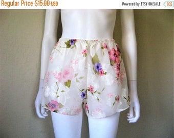 ON SALE Sheer Floral rose print Tap Pants / 90s lingerie short
