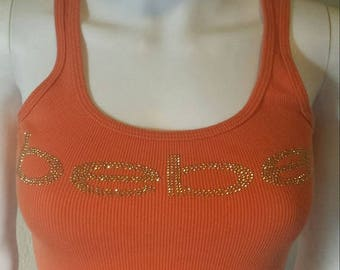25% off SALE BEBE Orange & gold studded ribbed tank top Sz small
