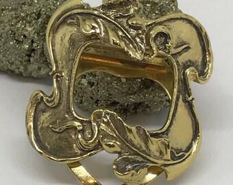 Vintage Art Nouveau Brass Dress Clip Vintage Scarf Clip Retro Jewelry