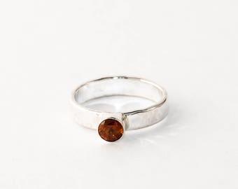 Hessonite Garnet and lightly hammered Sterling Silver ring