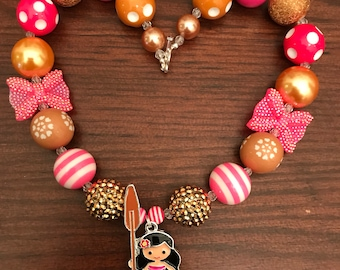 Princess Moana Inspired Bubble Gum Necklace in Pinks/Browns Two Styles Bows or Flowers (Child/Toddler)