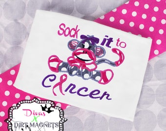 Sock It To Cancer Embroidered Shirt - Sock Monkey Shirt - Cancer Awareness Shirt - Applique Sock Monkey Embroidered Shirt