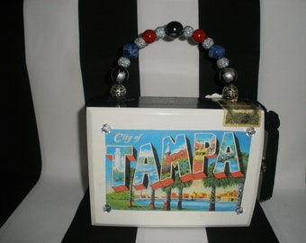 Tampa Postcard Cigar Box Purse, Cigar Box Handbag, Authentic, Lined