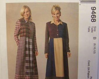 UNCUT 1990s McCall's 9468 COLOR BLOCK Dress Pattern sz 8-10-12