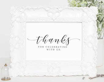 Wedding Sign Thank You, Printable Wedding Day Signage, Printable Thank you Sign For Wedding Card, Instant Download Wedding Signs, WP007_12