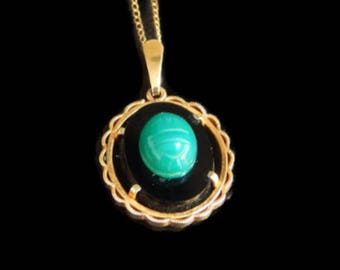 Egyptian Scarab Pendant Necklace 14K Gold Filled Green Beetle on Onyx