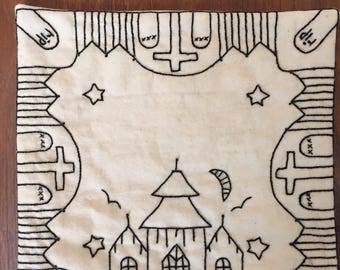 Hand Embroidered primitive Candle Mat - halloween haunted house