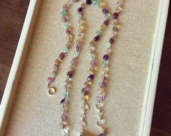 Fluorite amethyst necklace
