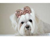 Rose Gold Sequin Ears Dog Bow