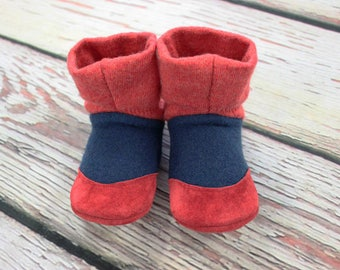 baby slipper boots, wool baby slippers, baby boots, toddler house shoe, baby house boots, toddler house boots, red baby slipper, US sz 6-6.5