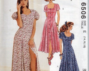 Vintage 1993 Easy McCall's Pattern 6506 FRONT BUTTONED DRESS Misses Sizes 14 16 18