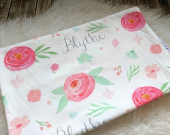 Personalized pink baby watercolor swaddle blanket: baby and toddler personalized name newborn hospital gift baby shower gift