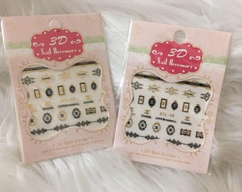 3D Nail Accessory 2 Sheets Chanel- Gold
