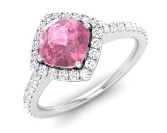 Pink Tourmaline Engagement Ring, Halo Ring, 14K White Gold Ring, Cushion Cut Pink Diamond Ring, Anniversary Ring, Wedding Ring, Real Diamond