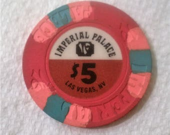 Vintage Imperial Palace Casino Chip /  Las Vegas Nevada 5 Dollar Casino Chip / Out of Circulation