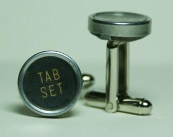 "Antique Typewriter Key Cufflinks ""Tab Set Tab Clear"" Key FREE Gift Bag"