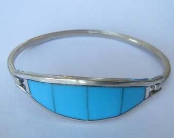 Vintage  Mexico Alpaca Silver  w Turquoise Hinged  Bracelet