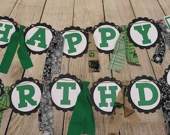 John Deere Birthday - Tractor Inspired Happy Birthday Banner with Fabric Ties