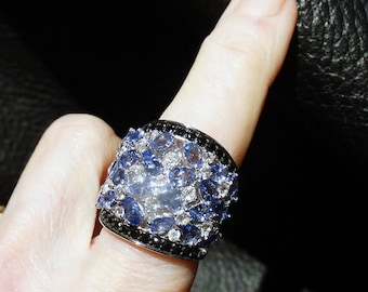 Tanzanite Sterling Ring Black Spinel White Topaz 6.17 Carats Vintage