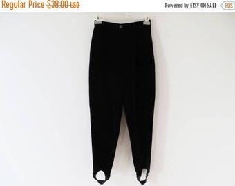 CIJ SALE Vintage 80's Black Velvet Pants High Waist Pants Women Peg Leg Pants With Stirrups Black Velvet Trousers Gerry Weber Pants Medium S