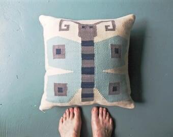 Mid Century Style Pillow Wool Needlepoint Butterfly Design Adler Style