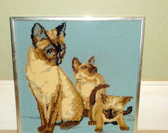 Cat Needlepoint Framed 1970s