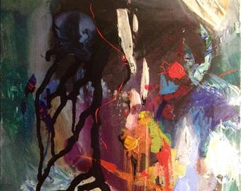 "Incarceration - Original Abstract Art Acrylic Painting 20""x 16"""
