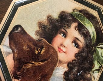 Vintage Tin with a girl and her Irish Setter and fox terriers on the sides